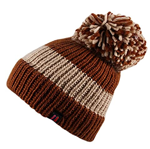 Itzu Big Bobble Stripe Ribbed Beanie Hat Cap Marl Knitted Pom Pom Roll Turn Up in Brown Cream