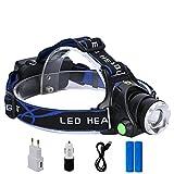 51738VEDX8L. SL160  - Huntvp Lampada da Testa LED XML-T6 2000LM 10W Super Luminoso Lampada Frontale Ricaricabile Faro Impermeabile Faro Orientabile Head Lamp per Campeggio Escursionismo Ciclismo Pesca