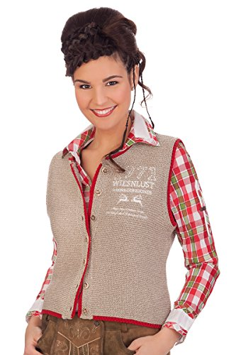 Damen Trachten Strickweste - BETTI - natur, braun, Größe 38
