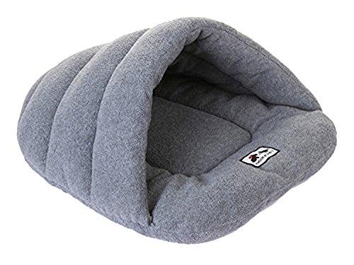 DAYAN Pet lujo cueva semi-cubierta suave acogedor saco de dormir de la estera de conejo Perros gato caliente de la casa Cama Tamaño M Color Gris
