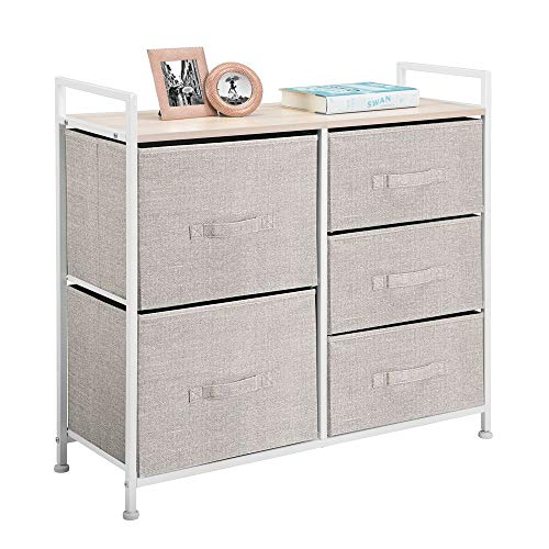 mDesign Cómoda de tela – Estrecho organizador de armarios con 5 cajones – Práctico mueble cajonera para el dormitorio, las habitaciones infantiles o zonas pequeñas – Armario con cajones – beis