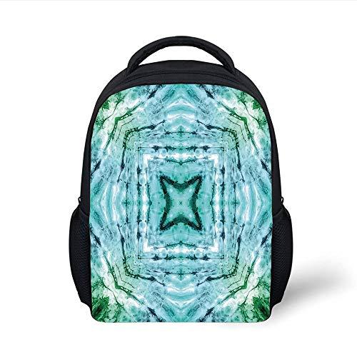 Kids School Backpack Tie Dye Decor,Star Inside Square Shaped Kaleidoscope Tie Dye Motive with Outer Figures Image,Teal Blue Plain Bookbag Travel Daypack - Kaleidoscope Eye Kit