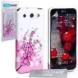 LG Optimus G Pro Tasche Rosa / Weiß Silikon Gel Blumen Biene Hülle