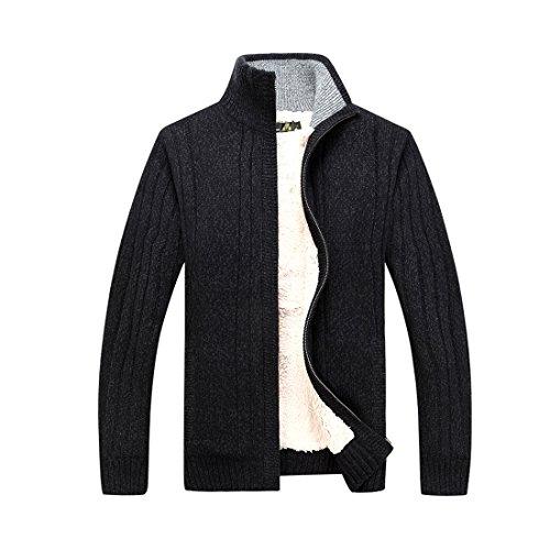 GWELL Homme Cardigan Veste en Maille Ouvrez-Front Zippé Gilet Automne Hiver en Laine Coton avec Poche, Noir, XXL : pour homme poids 90-95 kg