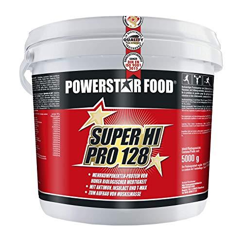 SUPER HI PRO 128 | Premium Mehrkomponenten Protein | 84% Protein i.Tr. | Nach wissenschaftlicher Formel | Höchstmögliche Biologische Wertigkeit | Deutsche Herstellung | 5000g Eimer | Chocolate