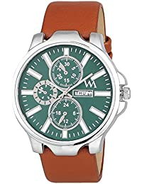 Watch Me Green Dial Brown Leather Strap Day And Date Collection Series Analog Quartz Watch For Men And Boys AWC...