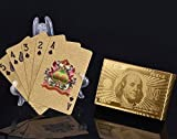 54 Blatt vergoldete/goldene Karten Spielkarten Pokerkarten Skatkarten   mit 24 Karat Goldfolie   hohe Qualität wasserfest knickfest -> langlebig   edles Aussehen   Geschenkverpackung verfügbar!