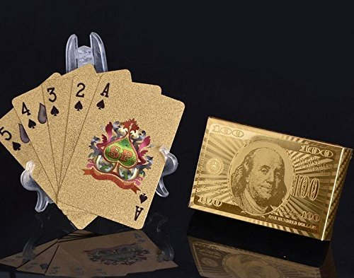 54 Blatt vergoldete/goldene Karten Spielkarten Pokerkarten Skatkarten   mit 24 Karat Goldfolie   hohe Qualität wasserfest knickfest - langlebig   edles Aussehen   Geschenkverpackung verfügbar!