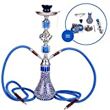 DXP Shisha Hookah 55 Centimeter 2 Manguera Cachimba Narguile Agua Tubo Vidrio Fumar Azul