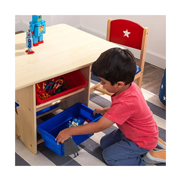 KidKraft 26912 Star Wooden Table & 2 Chair Set with storage bins, kids children's playroom / bedroom furniture - Red & Blue KidKraft Four convenient storage bins Bins can be reached from either side of table Star-shaped holes on table and chairs 13