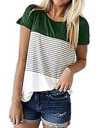 Camisetas Mujer Verano ❤️Xinantime Camisetas Mujer Manga Corta Rayas Blusa Mujer Sport Tops Mujer Verano Camisetas Mujer Tallas Grandes