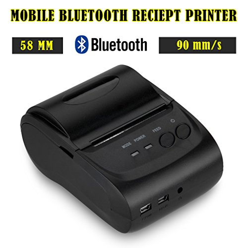 Mini Wireless Stampante Termica 58mm 90mm/s USB Bluetooth ESC POS STAR per Android Smartphone Tablet PC Cellulare Thermal Dot Receipt Printer Scontrino Ricevuta per Ristorante Negozio Mercato