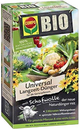 COMPO BIO Universal Langzeit-Dünger mit Schafwolle, einzigartiger, rein organischer Naturdünger für alle Gartenpflanzen, 4 kg