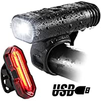 BYBLIGHT Bike Lights, USB Rechargeable LED Bicycle Torch Light Set, 350 Lumen Front Headlight and Super Bright Back LED Tail Light, Cycling Lights for Road & Mountain