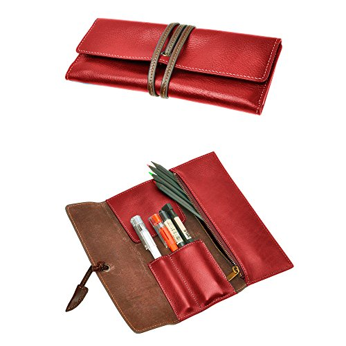 Handgefertigte Rote Tasche (ZLYC handgefertigt Soft Roll Stift Fall Bleistift Halter Wrap Tasche aus Leder Stationery Geschenk für Studenten rot)