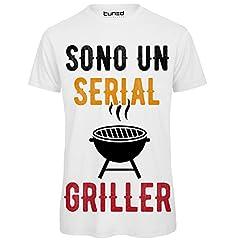 Idea Regalo - Maglietta Uomo T-Shirt Divertente con Stampa Ironica Sono Un Serial Griller Tuned, Colore: Bianco, Taglia: M