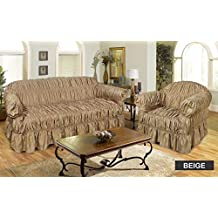 1 SEATER BEIGE   Jacquard Fabric Elastic Fitting Chair SOFA / SETTEE SLIP  COVER By VICEROY BEDDING