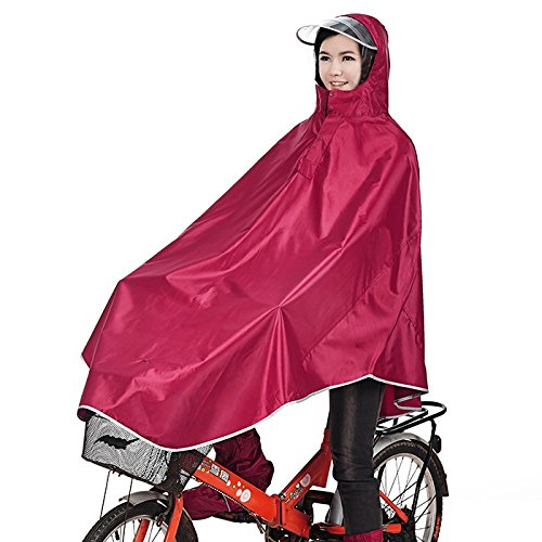 Tourwin Regenponcho für Camping Fahrrad Regenmantel Regenschutz mit Kapuze, Poncho, Rot