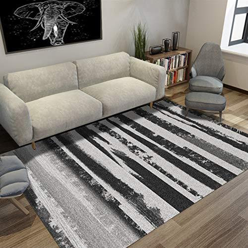 DAMENGXIANG Simple Negro Raya Blanca Abstracta Suave Alfombra para Sala De Estar Mesa De Dormitorio Estera Antideslizante Alfombra para El Hogar Decoración 60×90Cm