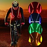 Iluminación LED reflectante chaleco de seguridad cinturón para running senderismo, ciclismo, Snowboarding, correr, senderismo, azul