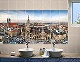 fliesenwandbild Stadt München, Tile Größe: 15cm x 15cm; Maße: 60x 120cm