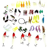 Wenquan,100Pcs Tipos de señuelos de Pesca cebos Bajos Tackle(Color:Colormix)