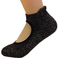 FEESHOW Women Yoga Socks Grip Non-slip Barre Socks for Pilates Ballet Dance (One Size, Black 2)