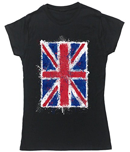 Hippowarehouse Damen T-Shirt, Schwarz, 50026-DTG-FT-BXL (Flag Jack T-shirt Art-union)
