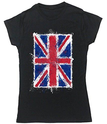 Hippowarehouse Damen T-Shirt, Schwarz, 50026-DTG-FT-BXL (Flag T-shirt Jack Art-union)
