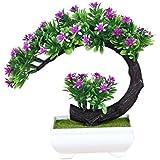 Vosarea Artificial Flowers Plastic Green Plants in Pots for Home Garden Decoration