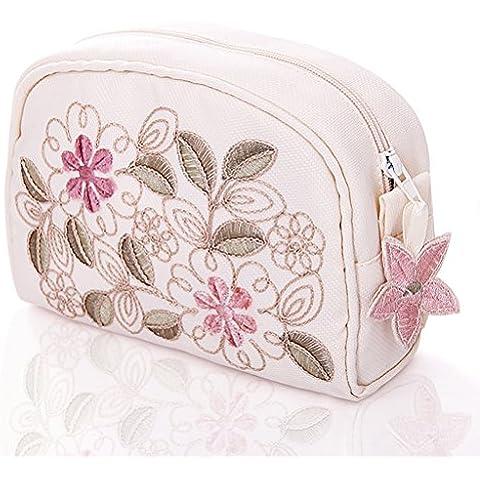 Bolsa de lavado de viaje Bolsa de cosméticos bordados Bolsa de mano de tamaño pequeño de señora portátil de almacenamiento portátil