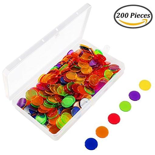 Keriber-204-Stcke-Bingo-Chips-Transparent-Farbe-Zhler-Zhlen-Kunststoff-Marker-mit-Aufbewahrungstasche Keriber 204 Stücke Bingo Chips Transparent Bunt Zähler Zählen Plastik Marke mit einer Box zur Speicherung -