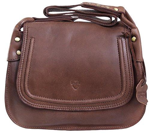 ILEMA von RICANO, Damen Ledertasche / Handtasche / Umhängetasche aus Lamm Nappa Echtleder in Braun