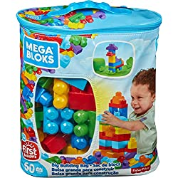Mega Bloks Sac Bleu, jeu de blocs de construction, 60 pièces, jouet pour bébé et enfant de 1 à 5 ans, DCH55