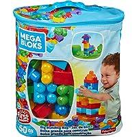 Mega Bloks Sac rose ou bleu, briques et jeu de construction, 60 pièces, jouet pour bébé et enfant de 1 à 5 ans