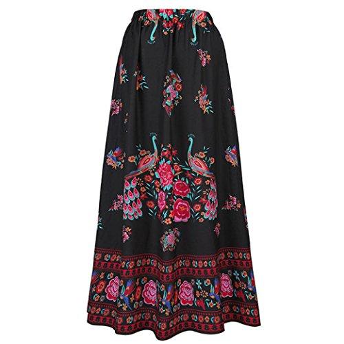 QUINTRA Women Boho Maxi Skirt Beach Floral Holiday Summer High Waist Long Skirt