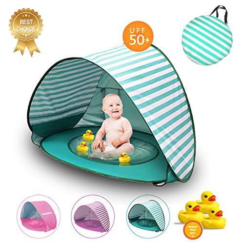 KiraKira Baby Strandzelt mit eingebautem Pool, Baby Strandzelt Pool,Pop Up Baby-Strandzelt Shade Pool Tent 50 UPF UV Protection Mit Geschenk-Wassertoys & Tragetasche (Stripe Green)