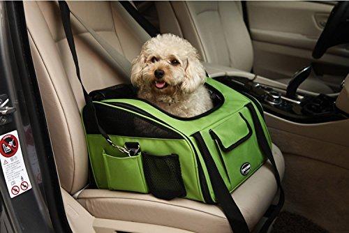 Maxmer Hund Transporttasche Hundetransportbox Hundautositz Hundebox Katzenbox Oxford Tuch + Atmungsaktiv Netzfenster geeignet für klein Tiere wie Hunde Häschen und Katzen (Beige/grün/lila/grau,
