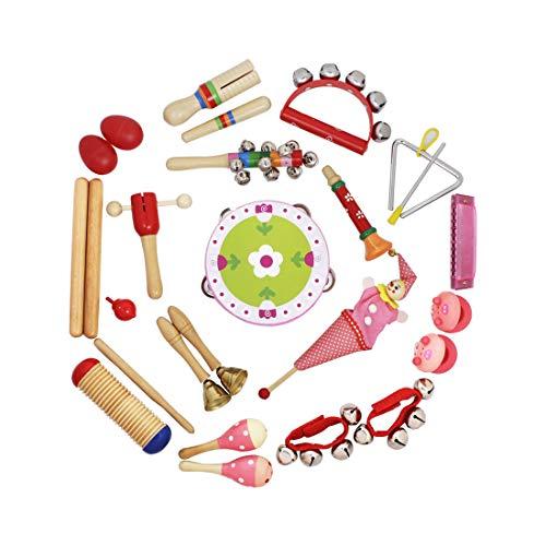 iVansa Musikinstrumente Kinder, 23 Stück Holz Musical Orff Instrumente Kinder, Schlagzeug Schlagwerk Rhythm Toys für Kinder & Baby
