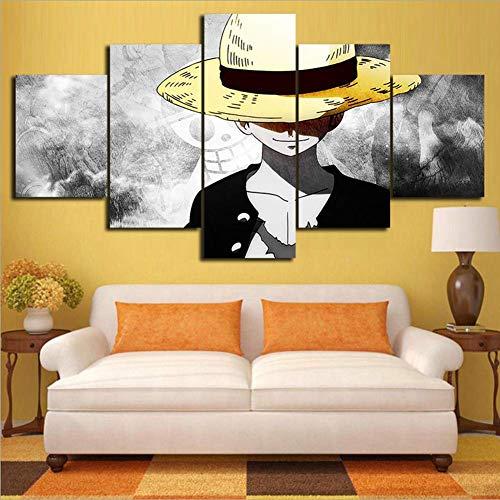FJLOVE Auf Leinwand Wachsamer One Piece Monkey D. Luffy 5 Teilig Bilder Wandbild Modern Kunstdruck Wanddekoration Canvas,B,150x80cm