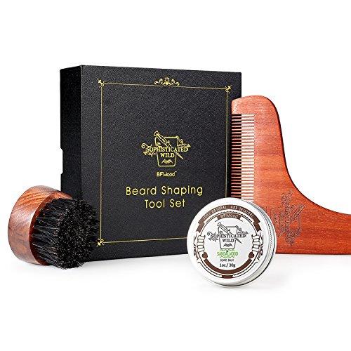 BFWood Cepillo de Barba y Peine a Juego – Cepillo de Viaje Redondo con Cerdas de Jabalí + Plantilla de Moldeado de Madera + Bálsamo de Barba 30g
