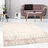 carpet city Teppich Flachflor mit Geometrischen Muster, Linien, Streifen, Modern, Meliert in Pastell-Rosa, Creme, Beige für Wohnzimmer; Größe: 200x290 cm