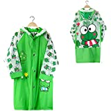 Imported and new versla 100-110 cm Green Waterproof Cartoon Kids Rainproof Rain Coat