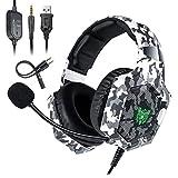 Deruitu Gaming Headset für PC PS4 Xbox One, ONIKUMA LED Licht Surround Sound Gaming Kopfhörer mit...