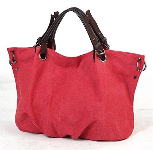 Inizio Di Buon Auspicio Europeo Vintage Semplice Stile Tela Totes Hobo Bag Beige Borsa Per Donna Rosso