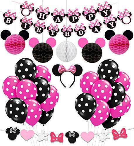Kreatwow Minnie Mouse Birthday Party liefert Dekorationen für Mädchen 1. 2. 3. Geburtstag Baby Shower (Birthday Happy Minnie Maus)