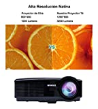Proyector Full HD, Proyectores LED 3200 Lúmenes 1080P Proyector Video Portátil Projector LCD Home Cinema 1280*800-Negro
