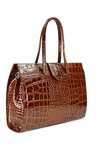 "BELLI ""Design Bag C"" ital. Ledertasche | Businesstasche | Jobbag - große Farbauswahl - 40x30x12 cm (B x H x T) Cognacbraun lack"