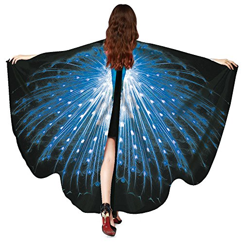 hör Frauen Pfau Flügel Schal Schals Damen Nymphe Pixie Poncho (M,Blau) ()