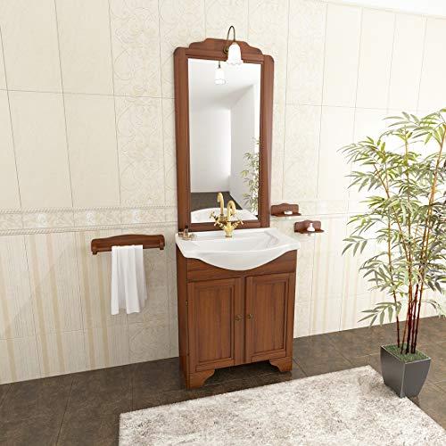 MarinelliGroup Mobile Bagno Classico 65 cm in Arte povera con lavabo Ceramica, Specchio e Luce. Bucaneve